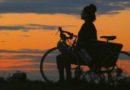 Cyclist in Repose at Sunset